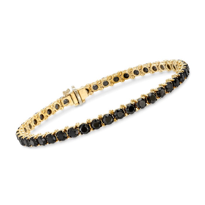 8.00 ct. t.w. Black Diamond Tennis Bracelet in 14kt Yellow Gold, , default
