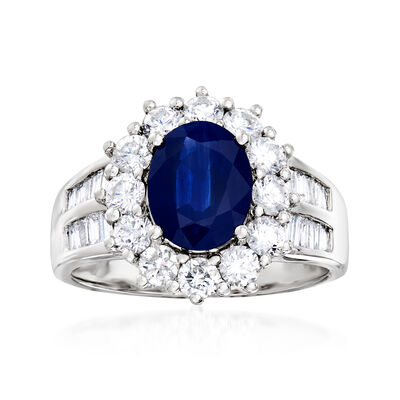 2.10 Carat Sapphire and 1.26 ct. t.w. Diamond Ring in 14kt White Gold