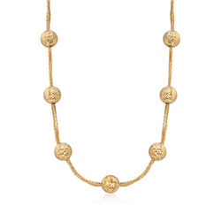 Italian 18kt Yellow Gold Bead Station Necklace, , default