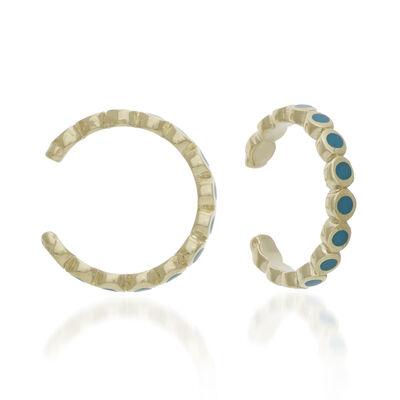 14kt Yellow Gold Turquoise Enamel Cuff Earrings, , default