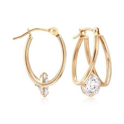 1.60 ct. t.w. CZ Double U-Shaped Hoop Earrings in 14kt Yellow Gold , , default
