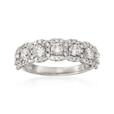 1.45 ct. t.w. Diamond Seven-Stone Halo Ring in 14kt White Gold, , default