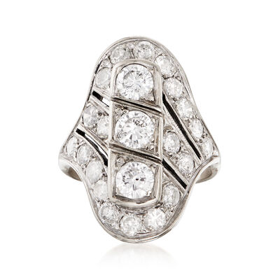 C. 1950 Vintage 3.20 ct. t.w. Diamond Diagonal Ring in 14kt White Gold, , default