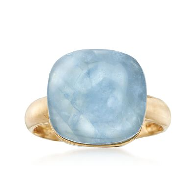 11.00 Carat Milky Aquamarine Ring in 14kt Yellow Gold, , default