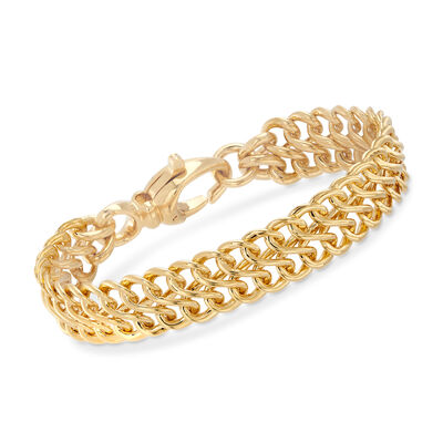Italian Andiamo 14kt Yellow Gold Two-Row Infinity-Link Bracelet, , default