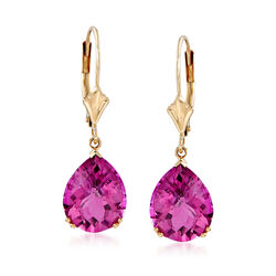 5.50 ct. t.w. Pink Topaz Earrings in 14kt Yellow Gold, , default