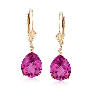5.50 ct. t.w. Pink Topaz Earrings in 14kt Yellow Gold, , default