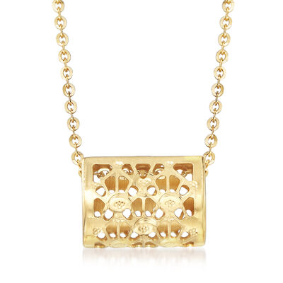 Italian 18kt Yellow Gold Over Sterling Silver Square Pendant Necklace, , default