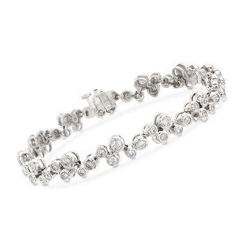 3.00 ct. t.w. Bezel-Set Diamond Bracelet in 14kt White Gold, , default