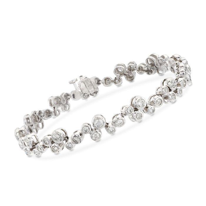 "3.20 ct. t.w. Bezel-Set Diamond Bracelet in 14kt White Gold. 7.25"", , default"