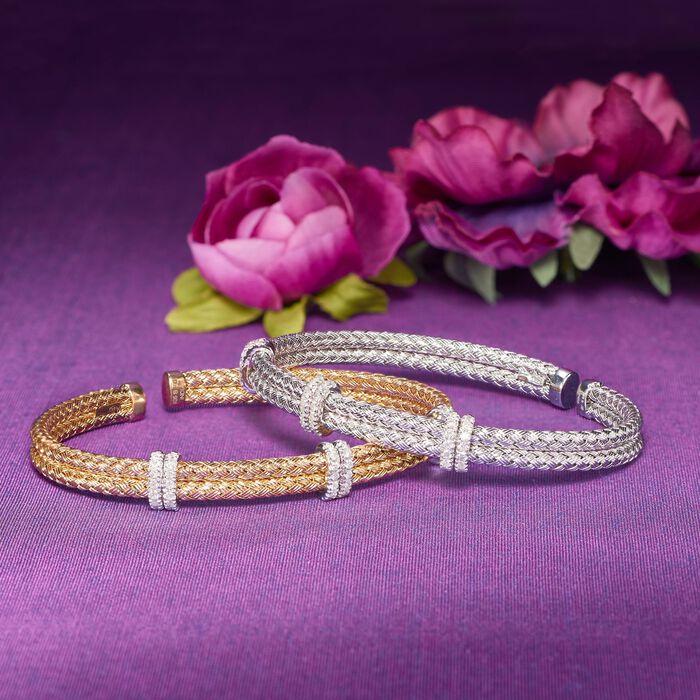 .50 ct. t.w. Diamond Basketweave Cuff Bracelet in Sterling Silver