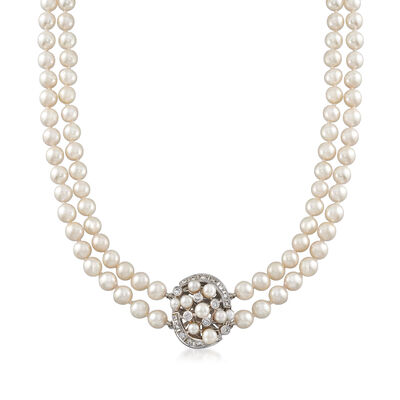 C. 1970 Vintage Cultured Pearl and .50 ct. t.w. Diamond Double-Strand Necklace in 18kt White Gold, , default