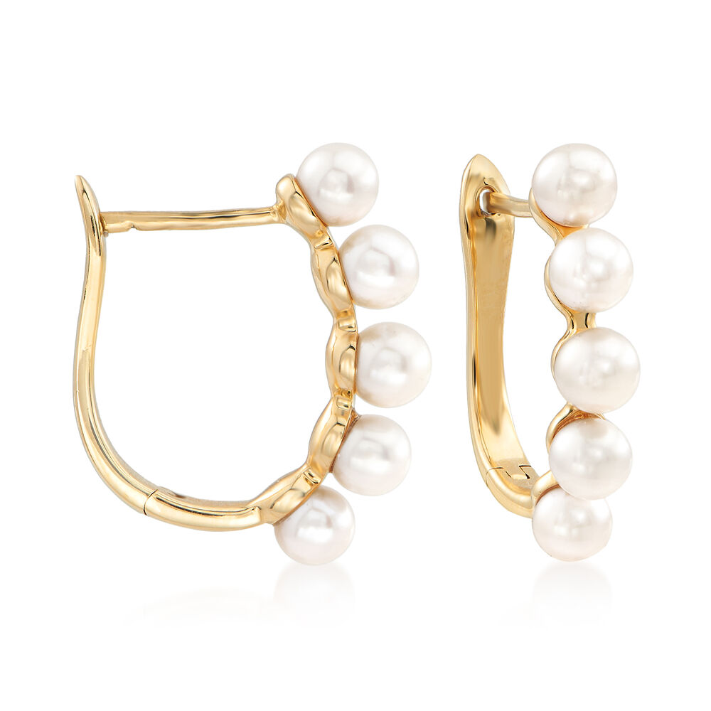 """4699c12a0 4-4.5mm Cultured Pearl Hoop Earrings in 14kt Yellow Gold. 5/8"""""""