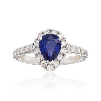 1.20 Carat Pear-Shaped Sapphire and .75 ct. t.w. Diamond Ring in 14kt White Gold, , default