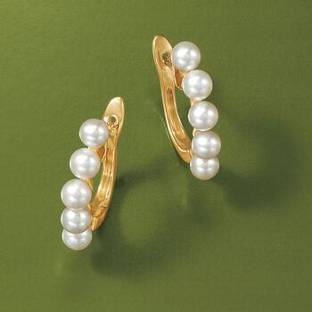 "4-4.5mm Cultured Pearl Hoop Earrings in 14kt Yellow Gold. 5/8"", , default"