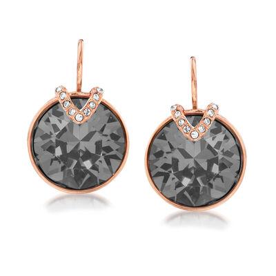 "Swarovski Crystal ""Bella"" Gray Crystal Large V-Shape Drop Earrings in Rose Gold Plate, , default"