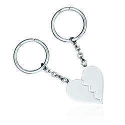 Sterling Silver  Engravable Two-Piece Heart Key Chain, , default