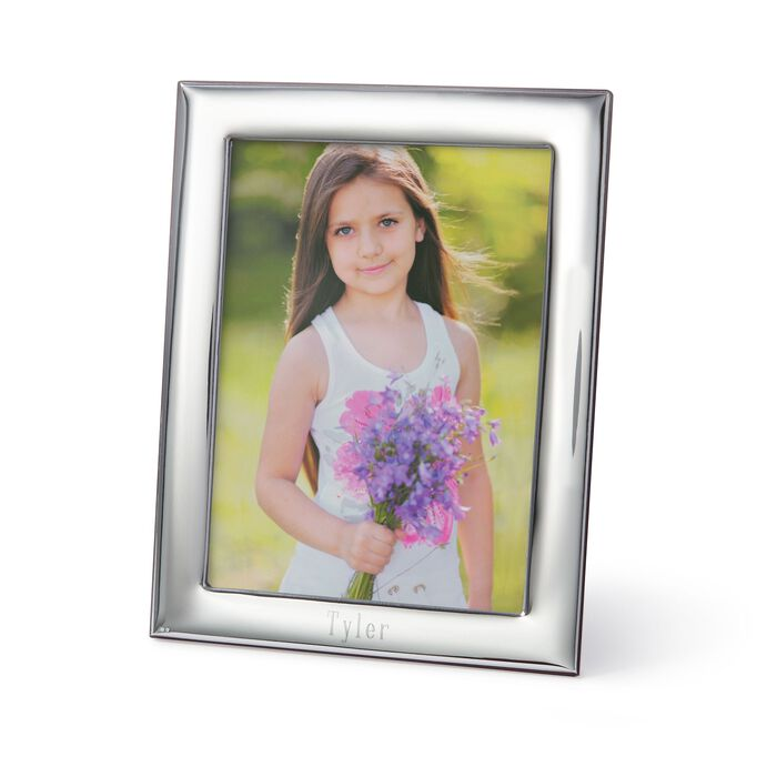 8x10 Sterling Overlay Personalized Frame With Wooden Back by Cunill, , default