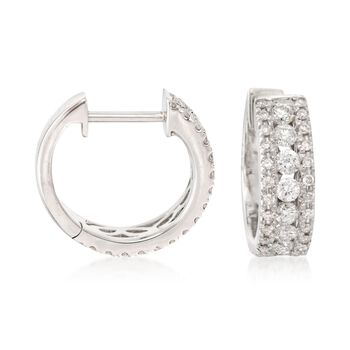 "1.00 ct. t.w. Diamond Huggie Hoop Earrings in 14kt White Gold. 1/2"", , default"