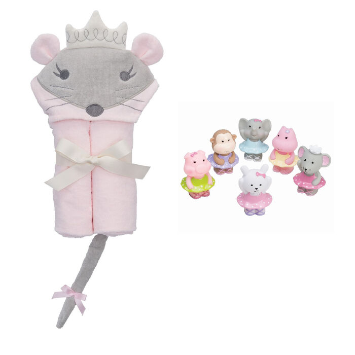 Elegant Baby Hooded Princess Mouse Bath Towel and Squirtie Toys Bath Set