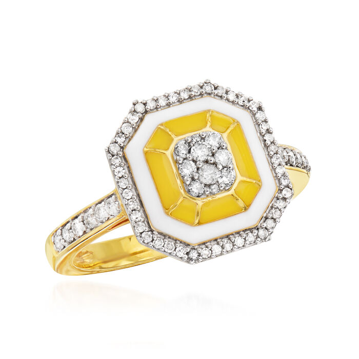 .33 ct. t.w. Diamond Ring with White and Yellow Enamel in 18kt Gold Over Sterling
