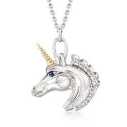 1.95 ct. t.w. White Topaz Unicorn Pendant Necklace With Sapphire Accents in 14kt Gold and Sterling, , default