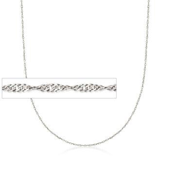 Italian 1.5mm Sterling Silver Adjustable Slider Singapore Chain Necklace , , default