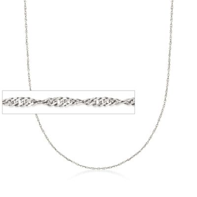 Italian 1.5mm Sterling Silver Adjustable Singapore Chain Necklace, , default