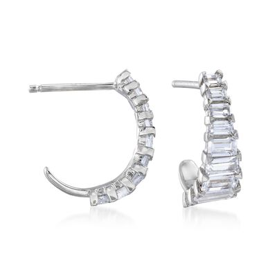1.30 ct. t.w. Baguette CZ J-Hoop Earrings in Sterling Silver, , default