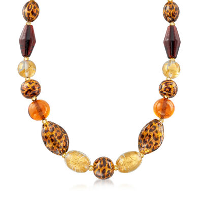 Italian Murano Leopard-Print Bead Necklace with 18kt Gold Over Sterling