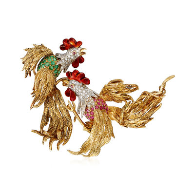 C. 1970 Vintage 3.50 ct. t.w. Multi-Gemstone Rooster Pin in 18kt Yellow Gold, , default