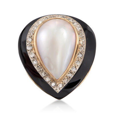 C. 1980 Vintage Cultured Mabe Pearl, Onyx and .30 ct. t.w. Diamond Ring in 14kt Yellow Gold, , default