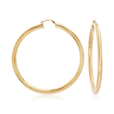 Andiamo 14kt Yellow Gold Large Hoop Earrings, , default