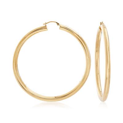 Andiamo 14kt Yellow Gold Large Hoop Earrings, , default