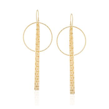 14kt Yellow Gold Open Circle and Lumachina Chain Tassel Drop Earrings, , default