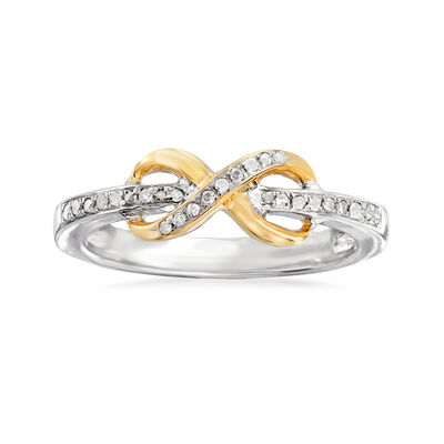 .10 ct. t.w. Diamond Infinity Ring in Sterling Silver and 14kt Yellow Gold