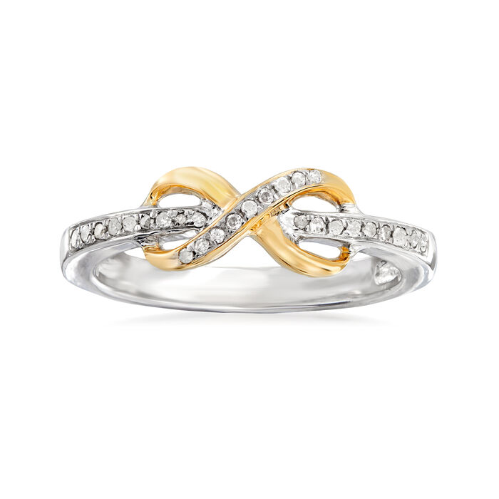 .10 ct. t.w. Diamond Infinity Ring in Sterling Silver and 14kt Yellow Gold, , default
