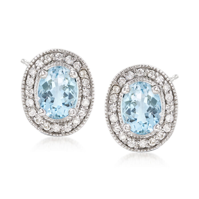 2.30 ct. t.w. Aquamarine and .32 ct. t.w. Diamond Earrings in 14kt White Gold, , default