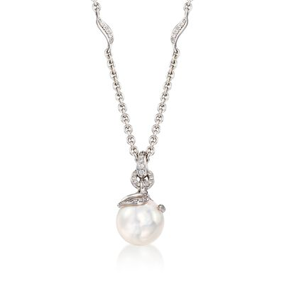 Mikimoto 8.5mm A+ Akoya Pearl Pendant Necklace with .15 ct. t.w. Diamonds in 18kt White Gold, , default