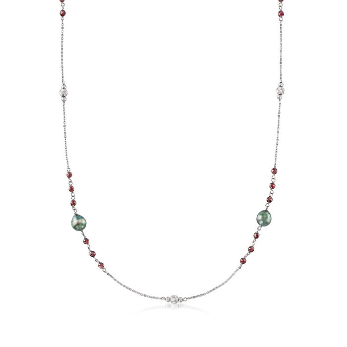 8-9mm Cultured Tahitian Pearl and 8.25 ct. t.w. Garnet Necklace in Sterling Silver