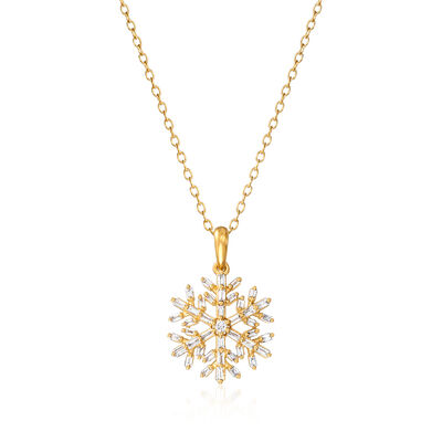 .28 ct. t.w. Diamond Snowflake Pendant Necklace in 18kt Gold Over Sterling