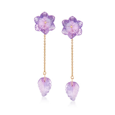 8.40 ct. t.w. Amethyst Flower and Leaf Drop Earrings in 14kt Yellow Gold, , default