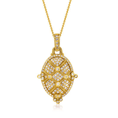 C. 2000 Vintage 2.35 ct. t.w. Diamond Pendant Necklace in 18kt Yellow Gold