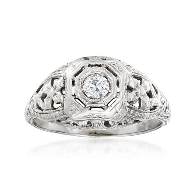 C. 1950 Vintage .15 Carat Diamond Filigree Ring in 18kt White Gold