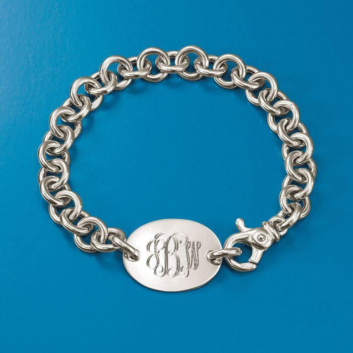 Italian Sterling Silver Monogram Oval ID Bracelet