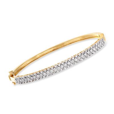 .75 ct. t.w. Diamond Bangle Bracelet in 18kt Gold Over Sterling, , default
