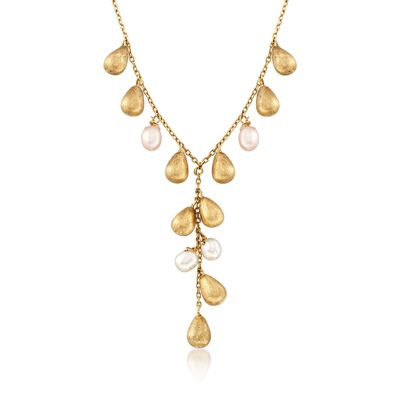 C. 1970 Vintage 6.5-5.5mm Cultured Pearl and 18kt Yellow Gold Drop Y-Necklace, , default