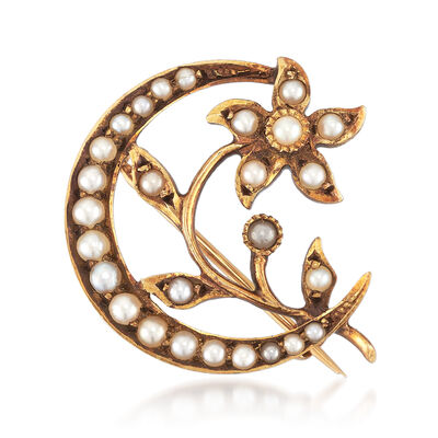 C. 1900 Vintage 14kt Yellow Gold Crescent Moon and Flower Pin with Seed Pearls