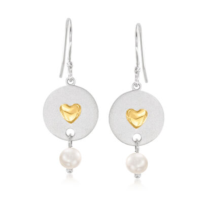 4-4.5mm Cultured Pearl Heart-In-Circle Drop Earrings in Sterling Silver with 14kt Yellow Gold