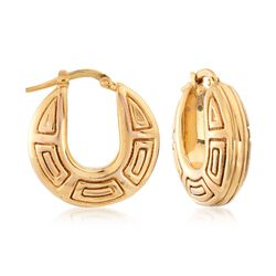 Italian 14kt Yellow Gold Geometric Hoop Earrings, , default